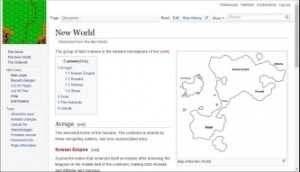 Screenshot of a wiki hosted on a private server