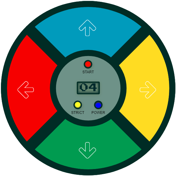 Screenshot of a JavaScript clone of the SIMON electronic game