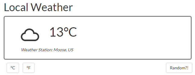 Screenshot of a weather widget in JavaScript