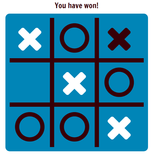 Screenshot of a tic-tac-toe (or noughts and crosses) in JavaScript